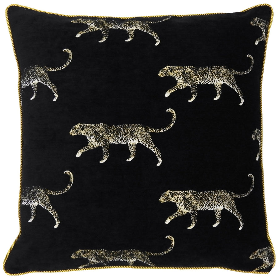 Safari Leopard Luxe Metallic Gold Cord Cushion