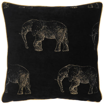 Safari Elephant Luxe Metallic Gold Cord Cushion