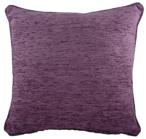 Savannah Chenille Aubergine Piped Cushion