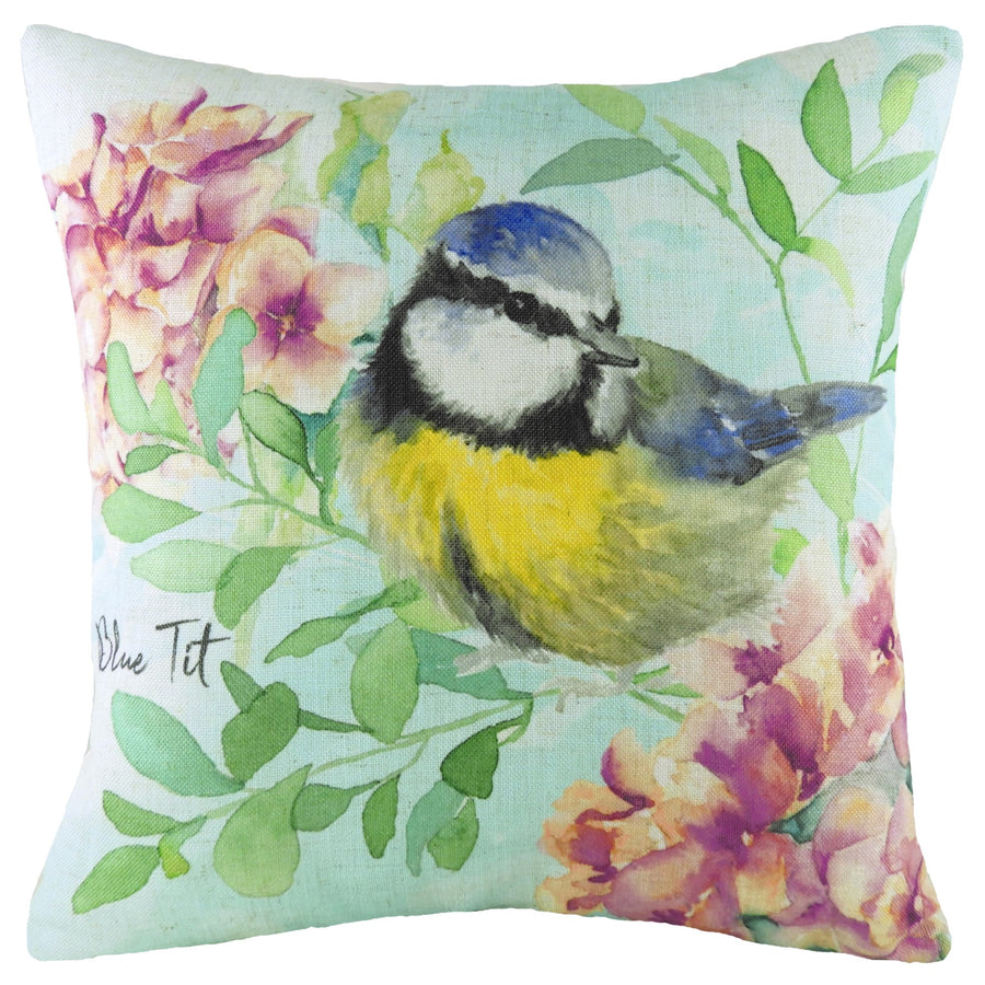 Spring Birds Blue Tit Cushion