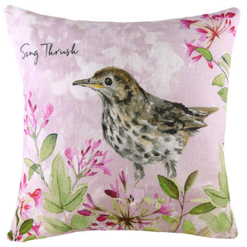 Spring Birds Song Thrush Cushion
