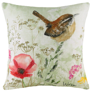 Spring Birds Wren Cushion