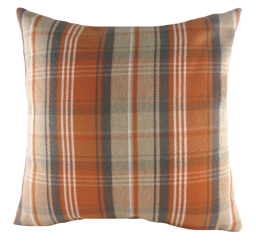Stirling Check Orange Cushion