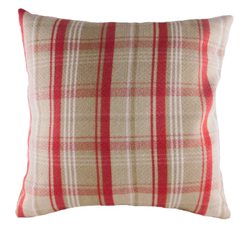 Stirling Check Red/Mocha Cushion