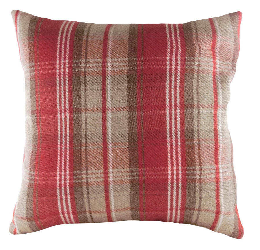 Stirling Check Red/Choc Cushion
