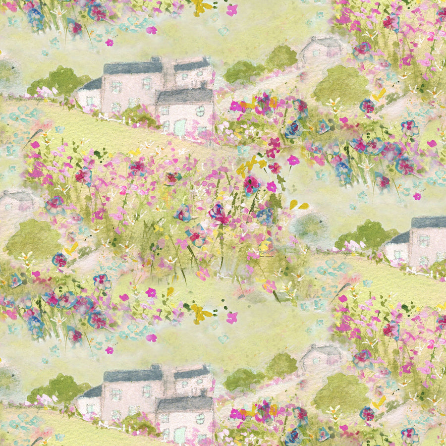 Sue Fenlon Village Green Scene Fabric - by the metre