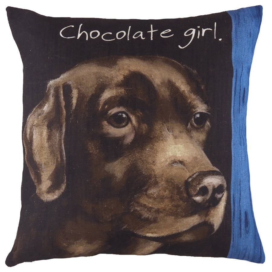 The Little Dog Laughed Chocolate Girl Cushion
