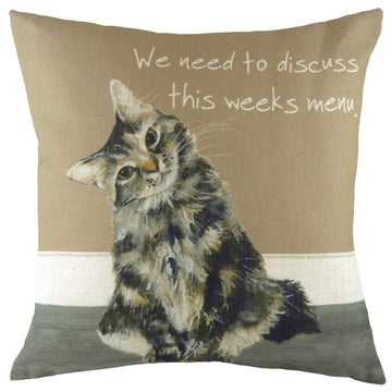 The Little Dog Laughed Cat Menu Cushion