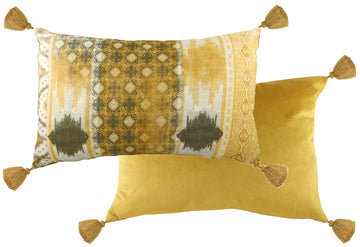 Tribal Ochre Oblong Tasselled Cushion