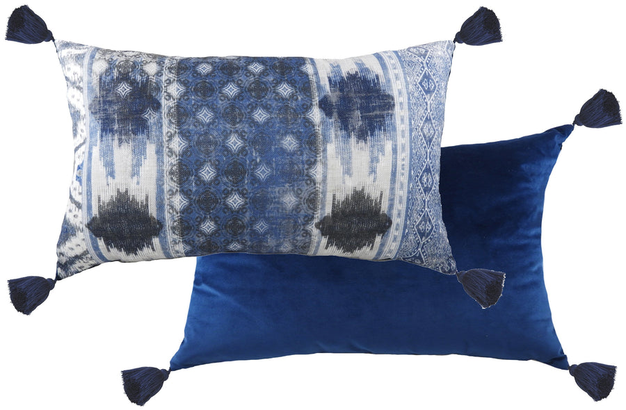 Tribal Blue Oblong Tasselled Cushion