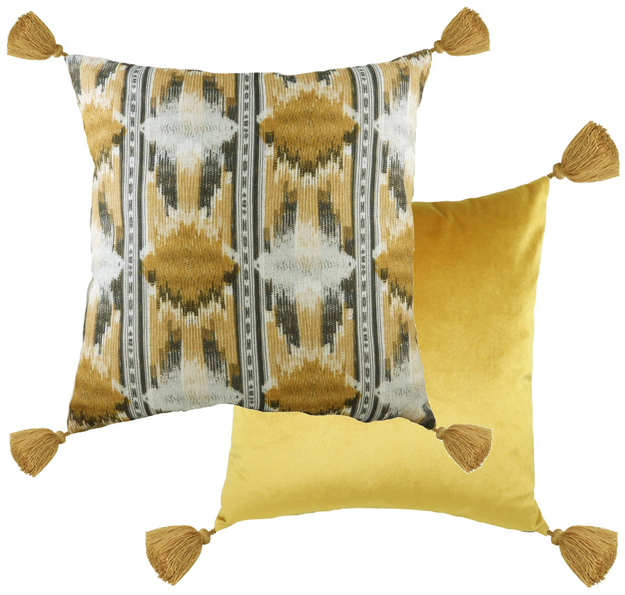 Tribal Ochre Tasselled Cushion