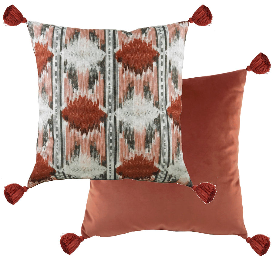 Tribal Terracotta Tasselled Cushion