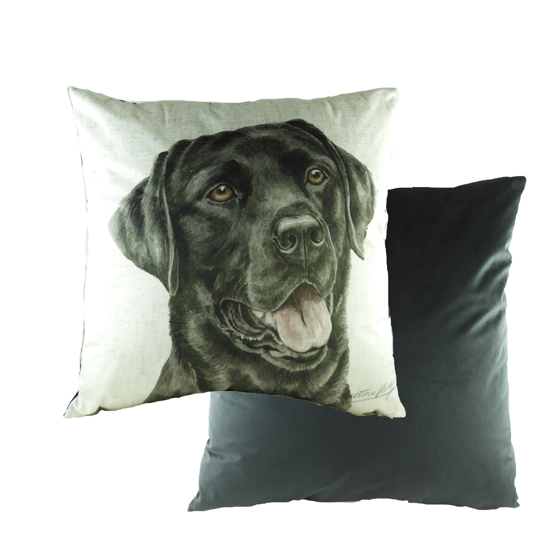 WaggyDogz Black Labrador Velvet Cushion