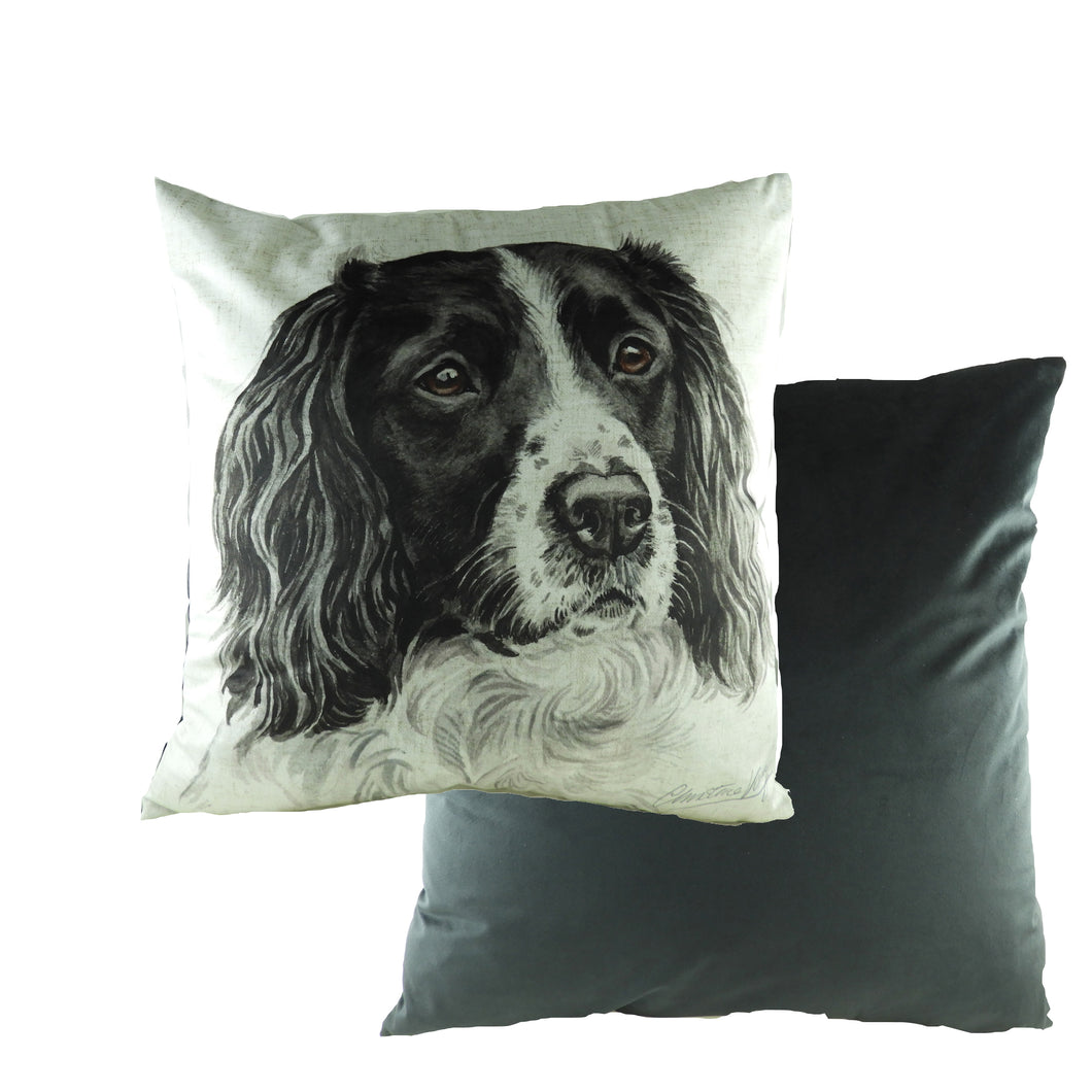 WaggyDogz Black Springer Spaniel Velvet Cushion