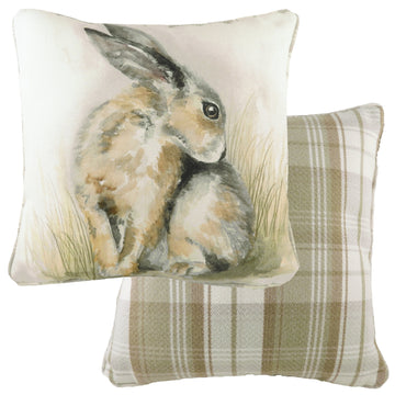 Watercolour Hare Piped Cushion