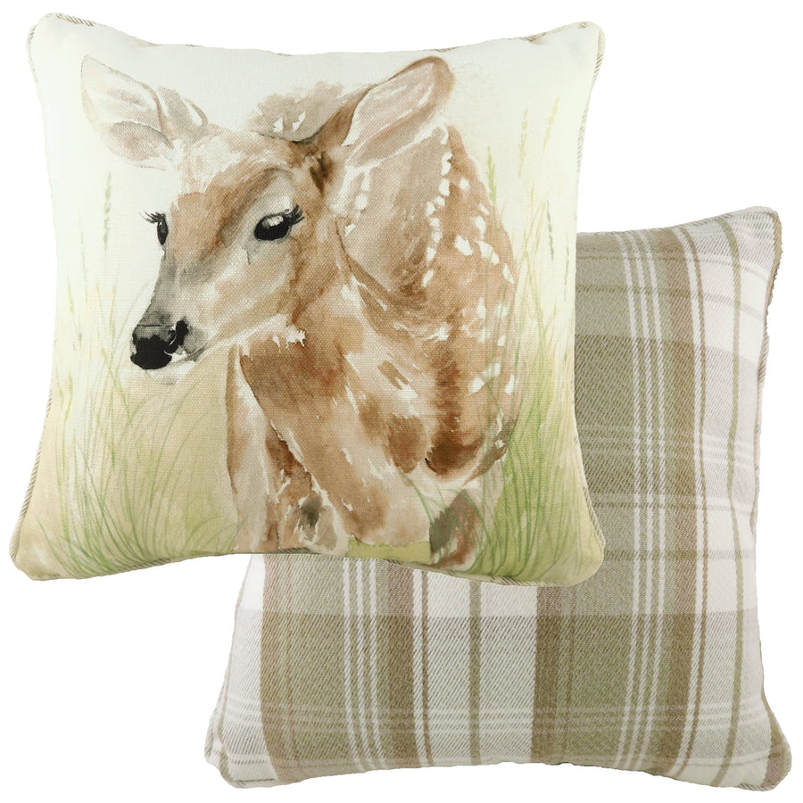Watercolour Fawn Piped Cushion