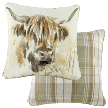 Watercolour Highland Cow Piped Cushion