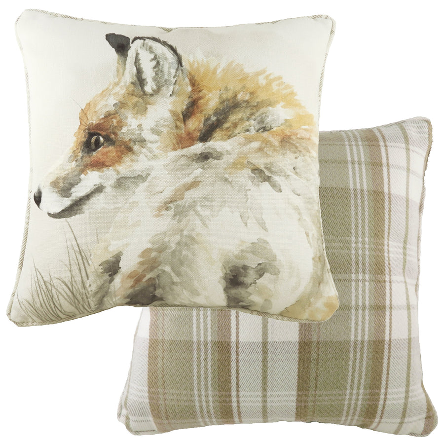 Watercolour Fox Piped Cushion