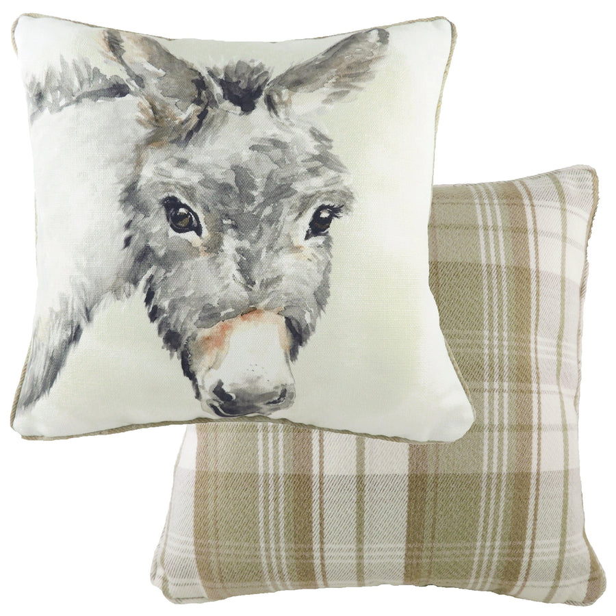 Watercolour Donkey Piped Cushion