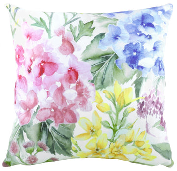 Watercolour Florals Hydrangea Cushion