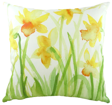 Watercolour Florals Daffodils Cushion