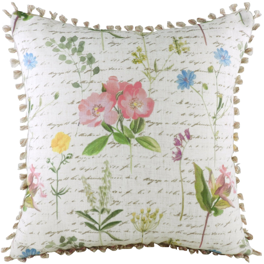 Wild Flowers Script Loop Trim Cushion