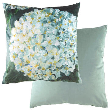 Winter Florals Hydrangea Eau De Nil Cushion