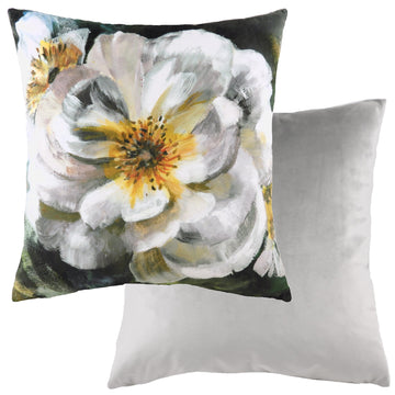 Winter Florals English Rose White Cushion