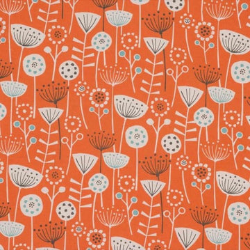 Nordic Seedheads Burnt Orange Fabric - by the metre