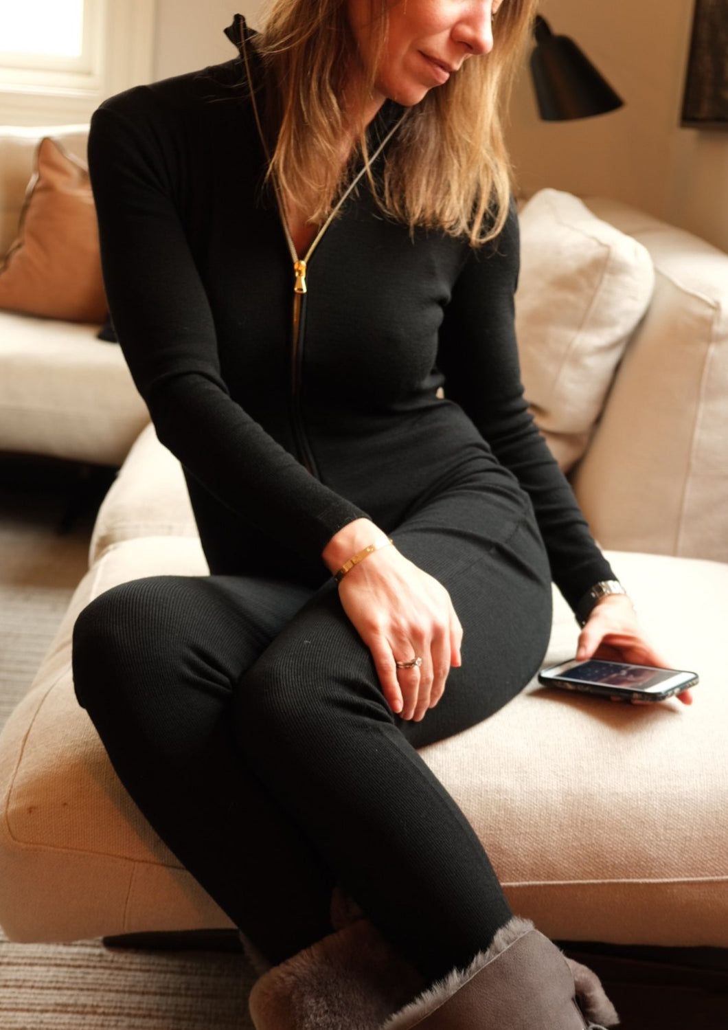 Merino Jumpsuit in Black - SOLD OUT