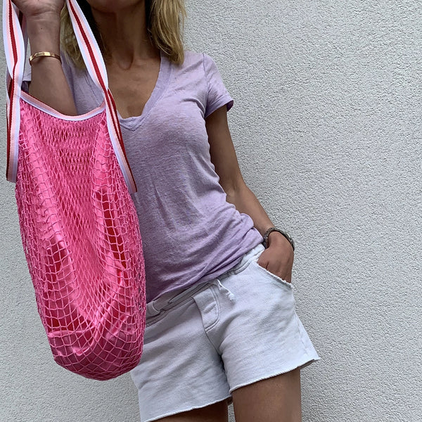 Pink mesh bag with linnen- Hot!