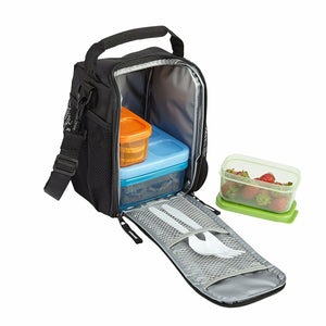Rubbermaid Lunch Blox Lunch Bag Small Black Etch Black Microwave (Pack Of 1)
