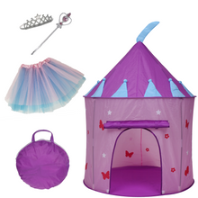 Elly & Andy Princess Castle Play Tent with Butterflies, Glow in The Dark Stars, Flowers, Bonus Skirt, Tiara, and Wand with Carrying Case, Great Indoor & Outdoor