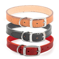 Ancol Classic Genuine Leather Sewn Dog Collar Black Red Tan