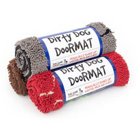 Dog Gone Smart Medium Dirty Dog Doormat | Microfiber Strands | Grey Red Brown
