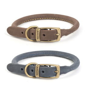 Ancol Timberwolf Rolled Leather Collar Blue & Sable
