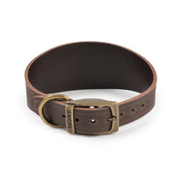 Ancol Timberwolf Leather Collar Whippet/Greyhound