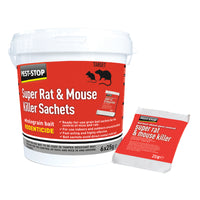 Pest Stop Super Mouse And Rat Killer Sachets Wholegrain Bait (6 X 25g)