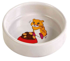 Trixie Ceramic Cartoon Hamster Bowl 90ml /ø 8cm, Cream