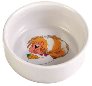 Trixie Ceramic Cartoon Guinea Pig Bowl 290ml / ø11cm, Cream