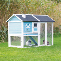 Trixie 5ft Hutch With Enclosure 156 × 110 × 80 Cm, Blue/white