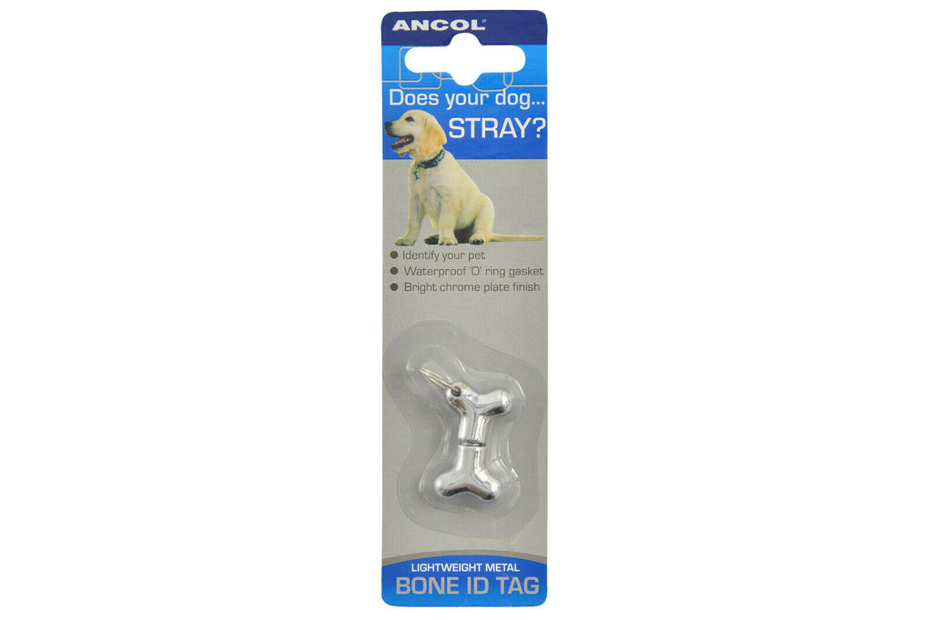 Ancol Lightweight Chrome Metal Bone Dog ID Tag
