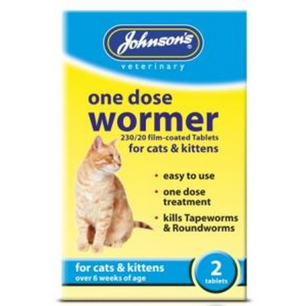 Johnson's One Dose Wormer For Cats & Kittens - 2 Tablets