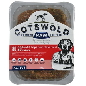 Cotswold Raw 80/20 Adult Working Beef and Tripe 1kg Mince