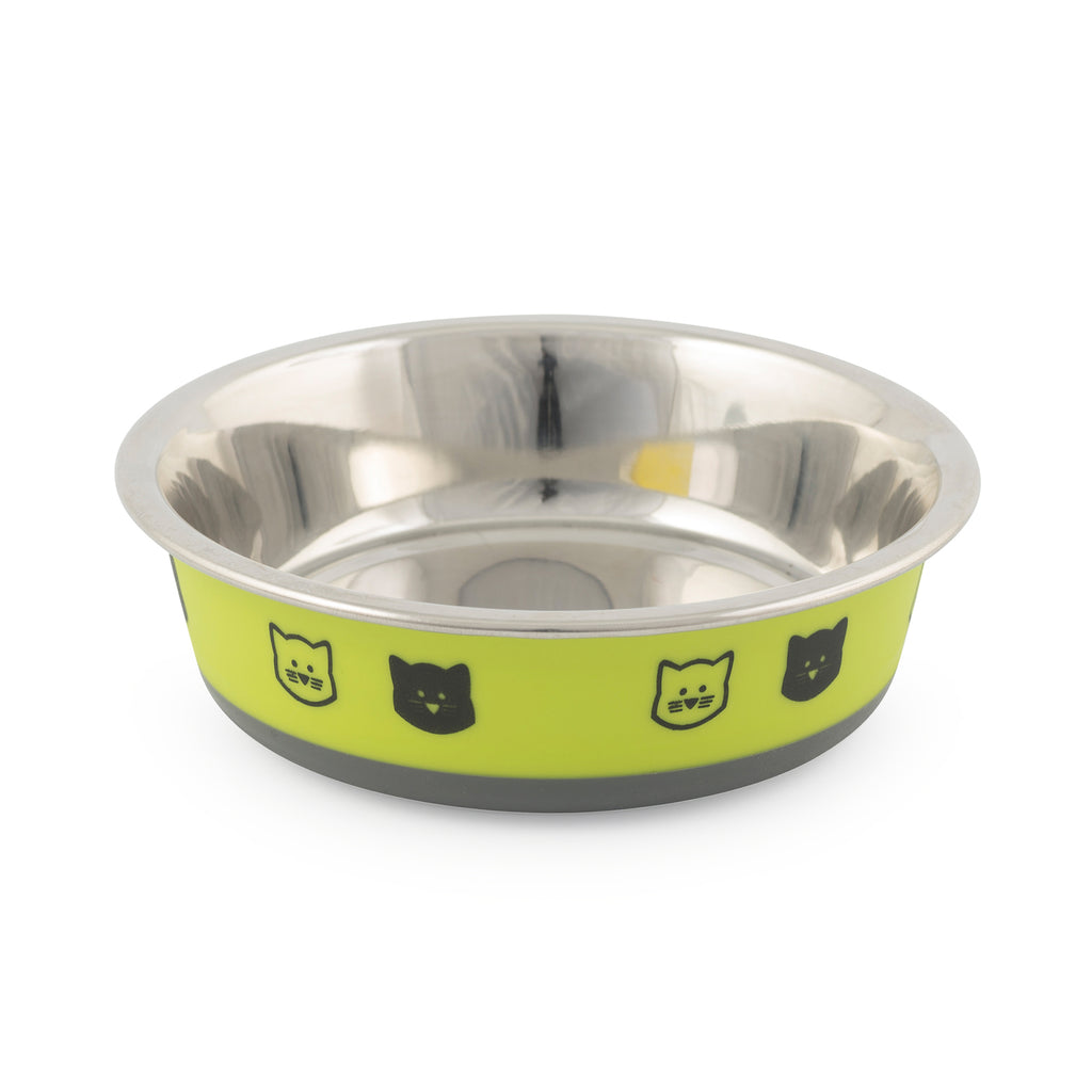 Ancol Fushion Stainless Steel Cat Dish Lime / Grey 12cm