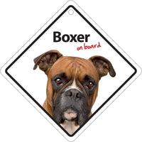 Boxer Dog On Board Car Window Sign