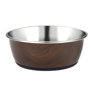 Classic Luxury Wood Effect Cubic Printed Stainless Steel Dish 500ml