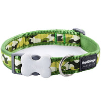 Red Dingo Camouflage Dog Collar, X-Small, Green, 20-32cm x 12mm