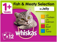 Whiskas Adult Cat Pouches Fish & Meaty Selection In Jelly 12 X 100g