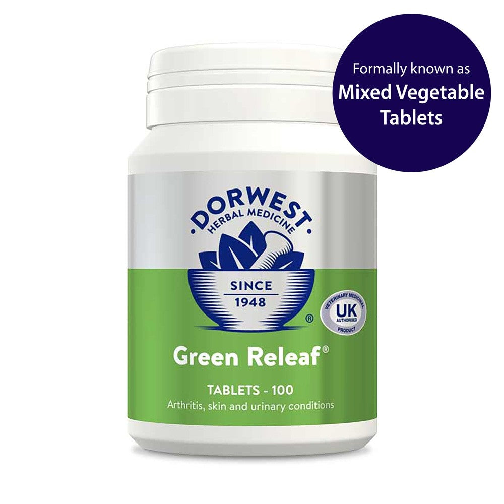 Dorwest Herbs - Green Releaf Tablets For Dogs And Cats 100 Tablets